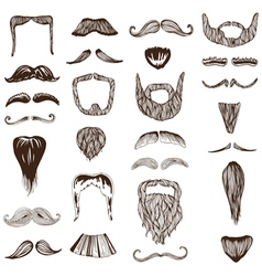 Set of hand drawn Moustache Mustache vector image