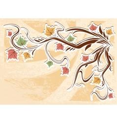 vintage autumn leaves background vector image