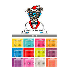 2018 calendar design with cute dogs cartoon vector image
