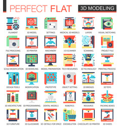 3d modelling and printing complex flat icon vector image