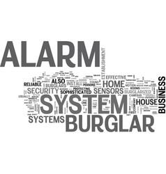A burglar alarm system text word cloud concept vector