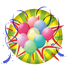 A spinning wheel with balloons and confetti vector