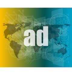 ad word on digital screen global communication vector image