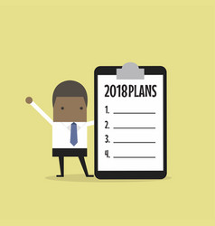 African businessman standing with 2018 plans vector