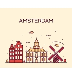 Amsterdam City skyline Trendy line art vector