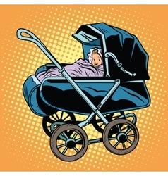 baby nursery retro stroller vector image