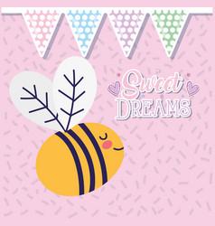 Bashower love sweet dreams cute bee flying vector