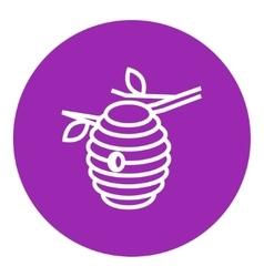 Bee hive line icon vector image