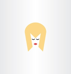 blonde girl face hair icon symbol vector image