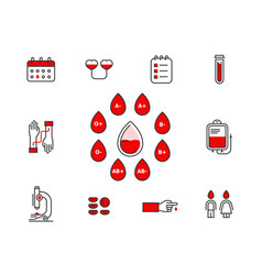 blood donation icon set isolated on white vector image
