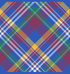 blue madras diagonal check plaid seamless fabric vector image
