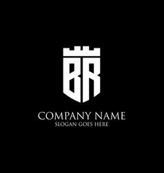 Br initial shield logo design inspiration crown vector