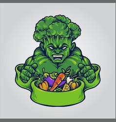 broccoli vegan strong vegetarian logo vector image