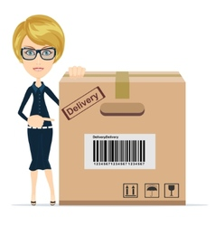 Business woman pointing to a large cardboard box vector image