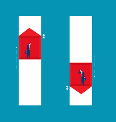 businessman raise and fall of business concept vector image