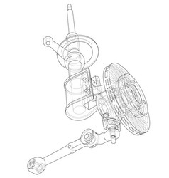 Car dampers with brake disc outline vector