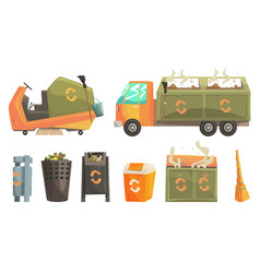 Carbage truck and bins with decaying waste vector