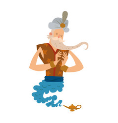 Cartoon genie character magic lamp flat vector
