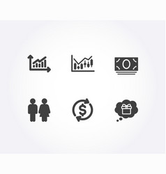 Cash money graph and financial diagram icons vector