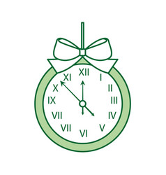 christmas clock frame bow ribbon decoration vector image