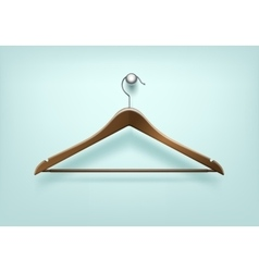 Clothes Coat Brown Wooden Hanger Close Up Isolated vector image