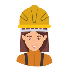 Colorful portrait half body of female firefighter vector