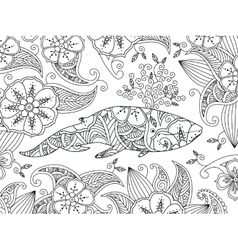 Coloring page with ornate whale on flower vector