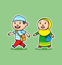 comical boy and girl moslem student walking goes vector image