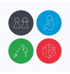 Couple paediatrics and dice icons vector