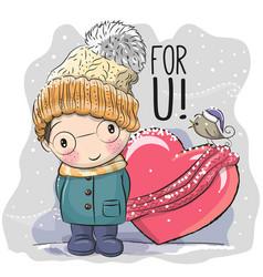 Cute cartoon boy in a knitted cap vector