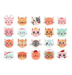 cute cats faces cat heads emoticons kitten face vector image