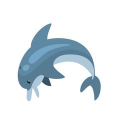 Cute dolphin cartoon sea animal jumping vector