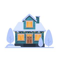 cute snowy suburban house blue rural winter vector image