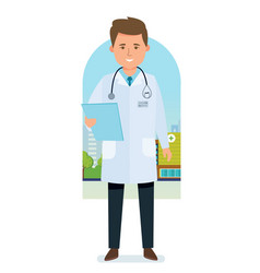 Doctor in medical dressing gown with documents vector