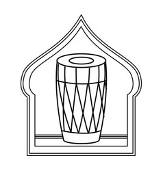 Drum mridangam icon cartoon isolated in black and vector