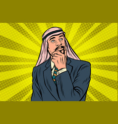 elderly arab businessman thinker pose vector image