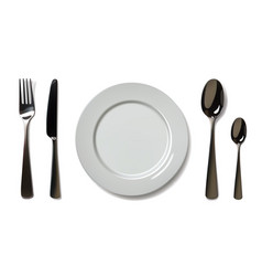 empty plate with spoon knife and fork on a white vector image