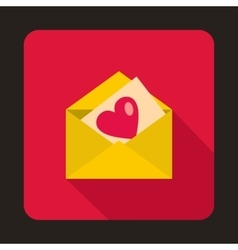 Envelope with invitation card icon flat style vector
