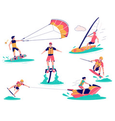 extreme water sports set flat isolated vector image