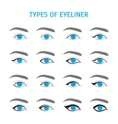 eyeliner stylish make up thin line icon set vector image