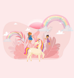 fantastic word with magic unicorn fairy girl vector image