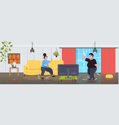 Fat obese couple exercising during tv show vector