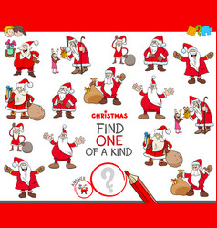 Find one of a kind game with santa characters vector