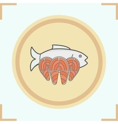 Fish color icon vector
