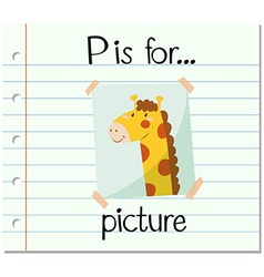 Flashcard letter P is for picture vector