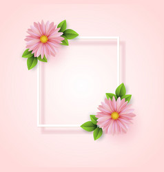 frame spring flowers with leaves spring sale vector image