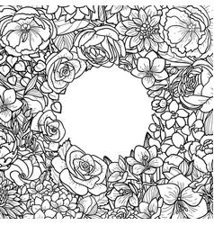 Garden flowers frame vector
