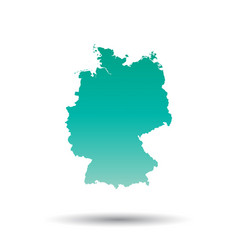 Germany map colorful turquoise on white isolated vector