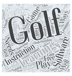 Golf Learning Software Word Cloud Concept vector