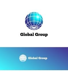 Gradient Earth logo Elegant globe symbol vector